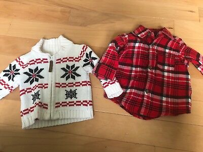 Carter's Baby Boys Christmas Plaid Top And Sweater 3 Months EUC