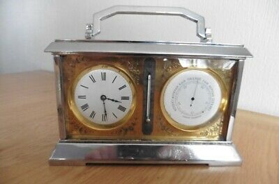 ANTIQUE FRENCH CARRIAGE CLOCK, BAROMETER, THERMOMETER COMBINATION CIRCA 1920s