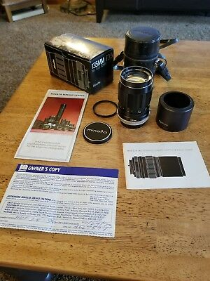 Minolta 135mm f3.5 Tele Rokkor-X vintage manual  in box w/caps and Leather Case