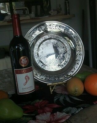 Vintage Viking (silver)plate sandwich plate. Grape/grape leaf pattern