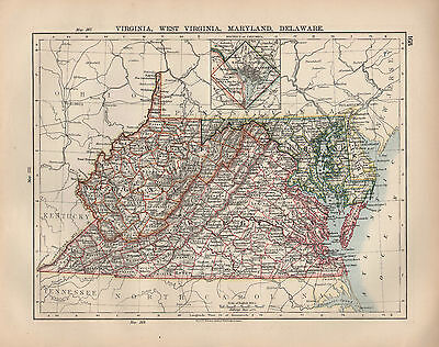 1897 Victorian Map United States Virginia Maryland Delaware District Of Columbia