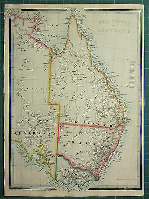 1872 James Wyld Map Gold Regions Australia New South Wales Queensland Coloured
