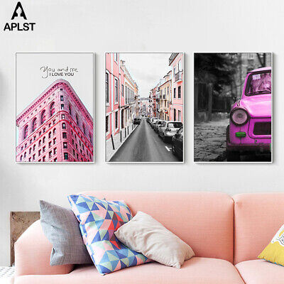 Nordic Pink Vintage Building Print Painting Poster City Street Canvas Wall Art