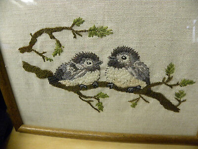Crewel Stitch Baby Robin Birds Hand Stitched Embroidered Sewn Framed 11x9