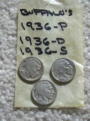 1936 Year Set, 1936-P, 1936-D, 1936-S  Buffalo Head Nickels, 3 Coins, Nice