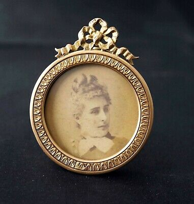 Antique French Miniature Brass Photo Frame, Louis XVI Style, Late 19th Century