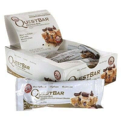 Quest Bar Chocolate Chip Cookie Dough - Low Carb (12 Bars)