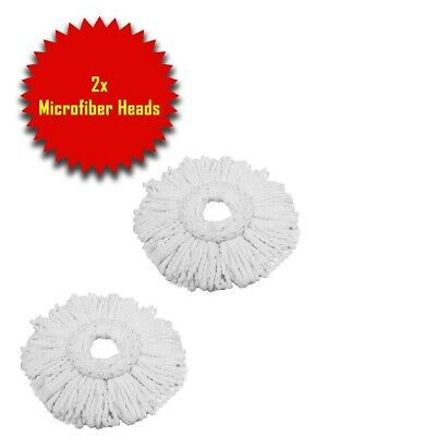 Mop and Bucket Set 360° Rotating Spin with 2 Mircofibre Heads Floor Cleaning