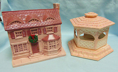 Vintage Handcrafted Ceramic Pink Christmas House & 2 Piece Peach Color Gazebo