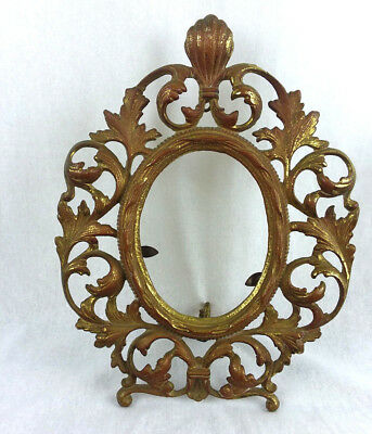 Cast Iron Brass Art Nouveau Ornate Oval Stand Up Mirror Picture Frame Frame Only