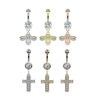 PREGNANCY Long Belly Bar Gem Navel Piercing Maternity Flexible Bioflex No Metal