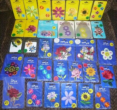 Iron On / Sew On Embroidered Flowers Applique Patches - Free Fast Shipping