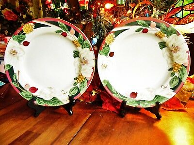 """NEW OTHER(old stock) 2 PC TIENSHAN FINE CHINA MAGNOLIA DINNER PLATES 10.5""""R"""