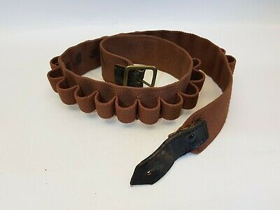 """Brown Canvas and leather 12g cartridge belt 34"""" excluding buckle"""
