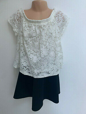 ex RIVER ISLAND Girls Lace White Top and Black Skirt - 2 PACK - Age 7-8 Years