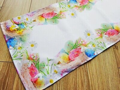 Amazing Printed Easter Tablecloth Table Runner with Eggs White Green New