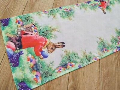 Amazing Printed Easter Tablecloth Table Runner with Rabbit White Green New