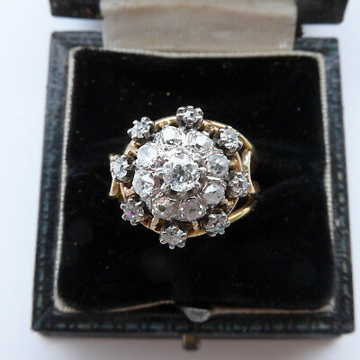Large Impressive Antique Victorian Diamond Ring 2.24CT of Old Cut Diamonds 18ct