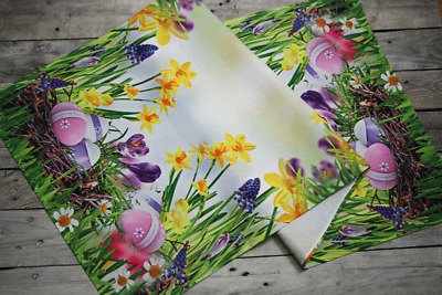 Amazing Printed Easter Tablecloth Table Runner with Egg Narcissus White Green