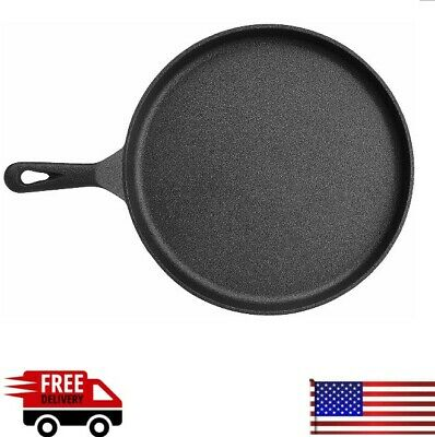 Cast Iron Griddle Pan Pre Seasoned Skillet Cookware for Stovetop Oven Black