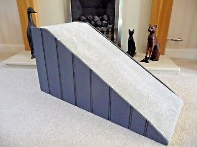 40cm High Pet Ramp painted Dark Grey with Grey Carpet
