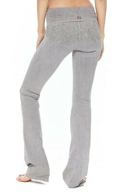 db3fd661a63c3 T-PARTY Light Grey Mineral Wash Fold Over Waist Angel Wing Yoga Workout  Pants