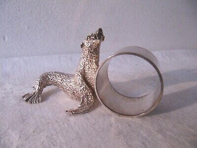 Silver Plated & Cast Metal Novelty Collectable Seal Napkin Ring