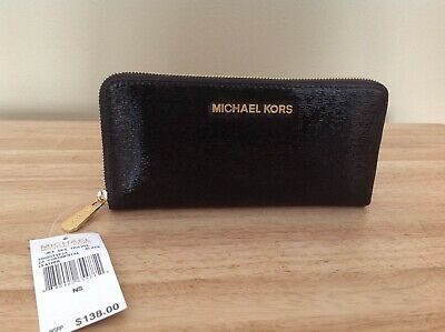 35f2d2e50093 Michael Kors Jet Set Travel Continental Patent Leather Wallet Black Gold NWT