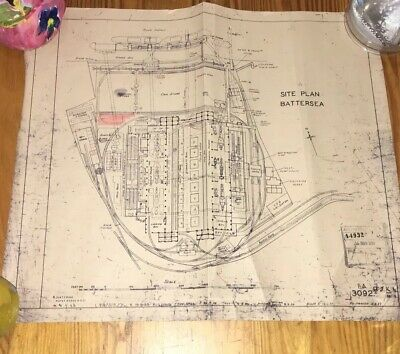 Architects Drawing Antique Battersea Power Station plan 1953 old rare vintage