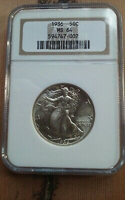 Ngc 1936 Ms64 Walking Liberty Half Dollar Blast White Silver Coin
