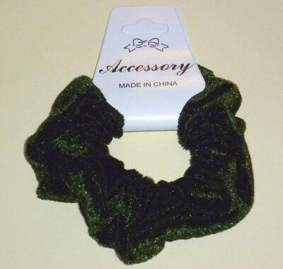 Accessory Job Lots 12 X Mossy Green Velvet Hair Scrunchies