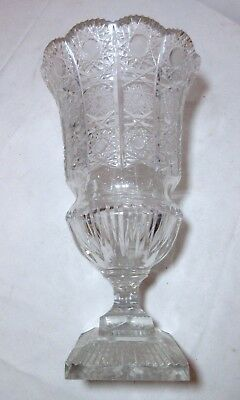 antique Queen lace cut clear crystal glass ornate flower urn vase brilliant
