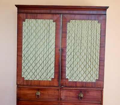 REDUCED Large Antique Linen Press Tall Boy Bedroom Storage Unit Wardrobe 2m High