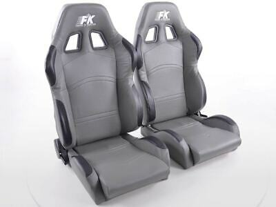 Pair Front Car Sports Seats Cyberstar artificial leather grey VW Audi Seat Skoda