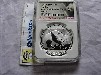 Rare LBL 2016 China 10 Yuan 30 Gram Silver Panda NGC MS70 FR One of First 30,000