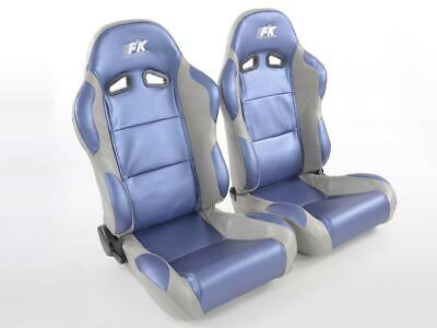 Pair Front Car Sports Seats Racing artificial leather blue grey VW Audi Seat
