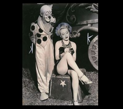 Vintage Creepy Circus Clown Sexy Girl PHOTO Freak Creepy Weird Odd Hot Legs