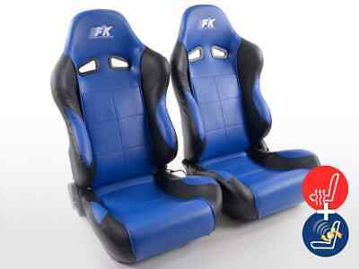 Pair Front Car Sports Seats Comfort artificial leather blue black VW Audi Seat
