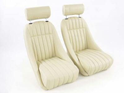Pair Front Car Sports Seats Montgomery artificial leather beige VW Audi Seat