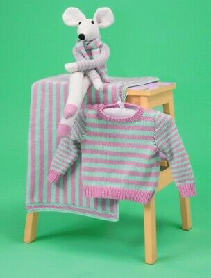 Knitting Pattern For Baby's Jumper /blanket &     Toy Mouse