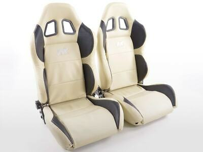 Pair Front Car Sports Seats Houston artificial leather beige and black VW Audi