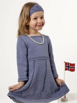 Knitting Pattern For Girls Dress & Head Band  - Size 2 - 10 Years.