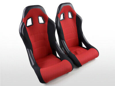 Pair Front Car Sports Bucket Seats Edition 4 fabric red VW Audi Seat Skoda