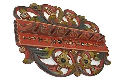 Vintage Carved and Painted Spoon Rack, Hindeloopen/ Frisian/ Dutch/ Netherlands.