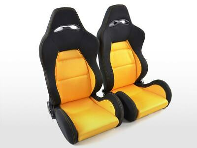 Pair Front Car Sports Seats Edition 3 fabric yellow and black VW Audi Seat Skoda