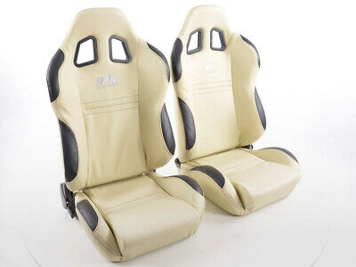 Pair Sport Seats New York Fabric Beige/ Black Seam Black VW Audi Seat Skoda