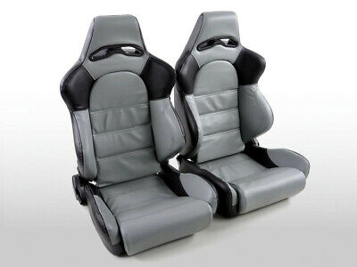 Pair Front Car Sports Seats Edition 1 artificial leather grey and black