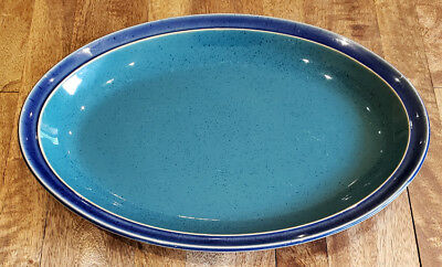 "Denby HARLEQUIN Blue Green -- 13-1/8"" Oval Serving Platter"