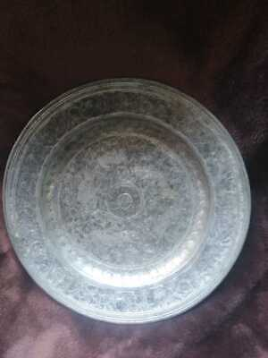"Vintage 8"" decorated metallic plate"