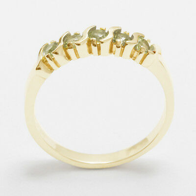 Solid 14k Yellow Gold Natural Peridot Womens Eternity Ring - Sizes 4 to 12
